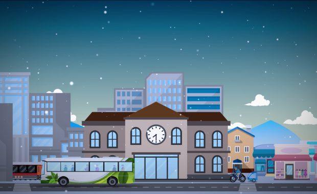 Skjermdump fra animasjonsfilmen om Mjøsbyen.